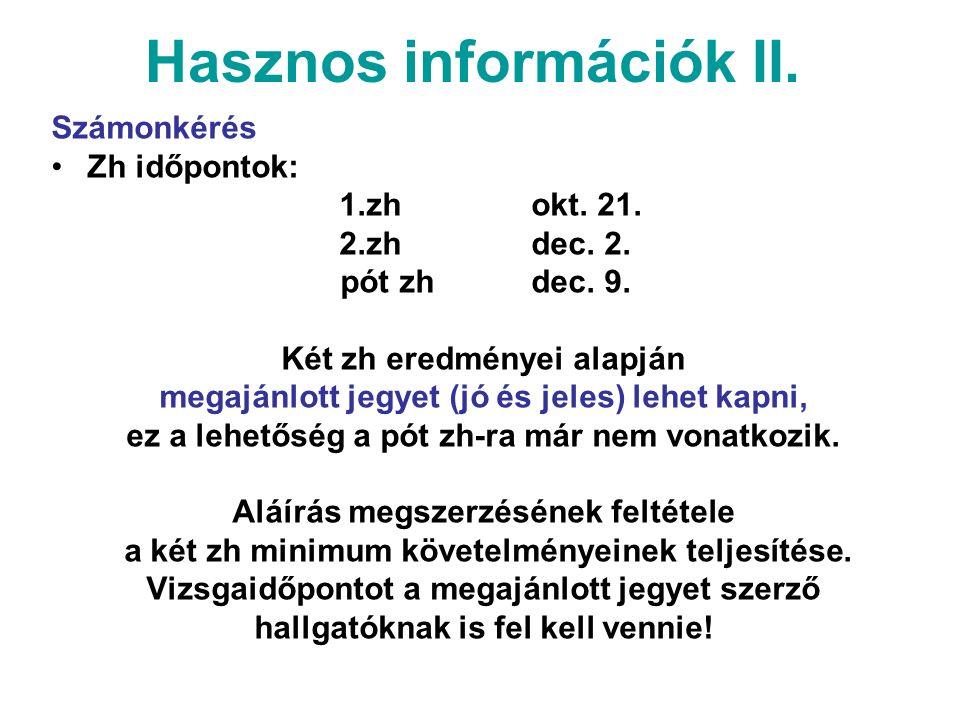 Hasznos információk II. Számonkérés Zh időpontok: 1.zh okt.
