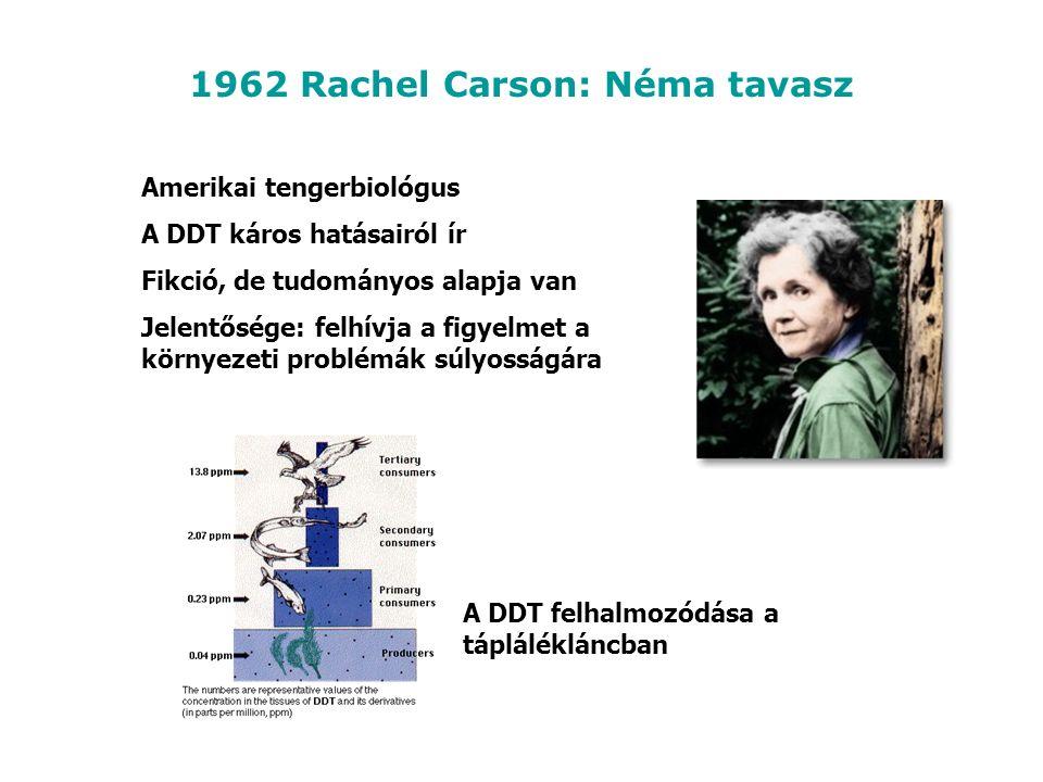 1962 Rachel Carson: Néma tavasz Amerikai tengerbiológus A DDT káros hatásairól ír Fikció, de tudományos alapja van Jelentősége: felhívja a figyelmet a környezeti problémák súlyosságára A DDT felhalmozódása a táplálékláncban