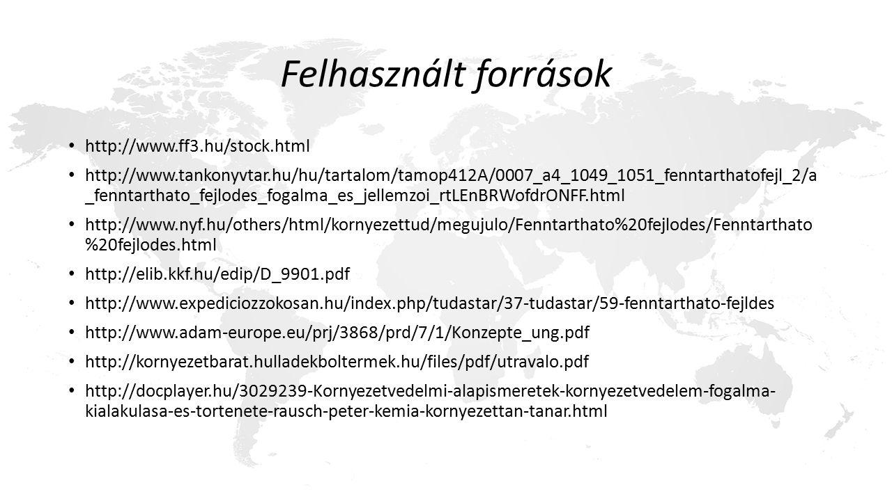 Felhasznált források http://www.ff3.hu/stock.html http://www.tankonyvtar.hu/hu/tartalom/tamop412A/0007_a4_1049_1051_fenntarthatofejl_2/a _fenntarthato_fejlodes_fogalma_es_jellemzoi_rtLEnBRWofdrONFF.html http://www.nyf.hu/others/html/kornyezettud/megujulo/Fenntarthato%20fejlodes/Fenntarthato %20fejlodes.html http://elib.kkf.hu/edip/D_9901.pdf http://www.expediciozzokosan.hu/index.php/tudastar/37-tudastar/59-fenntarthato-fejldes http://www.adam-europe.eu/prj/3868/prd/7/1/Konzepte_ung.pdf http://kornyezetbarat.hulladekboltermek.hu/files/pdf/utravalo.pdf http://docplayer.hu/3029239-Kornyezetvedelmi-alapismeretek-kornyezetvedelem-fogalma- kialakulasa-es-tortenete-rausch-peter-kemia-kornyezettan-tanar.html