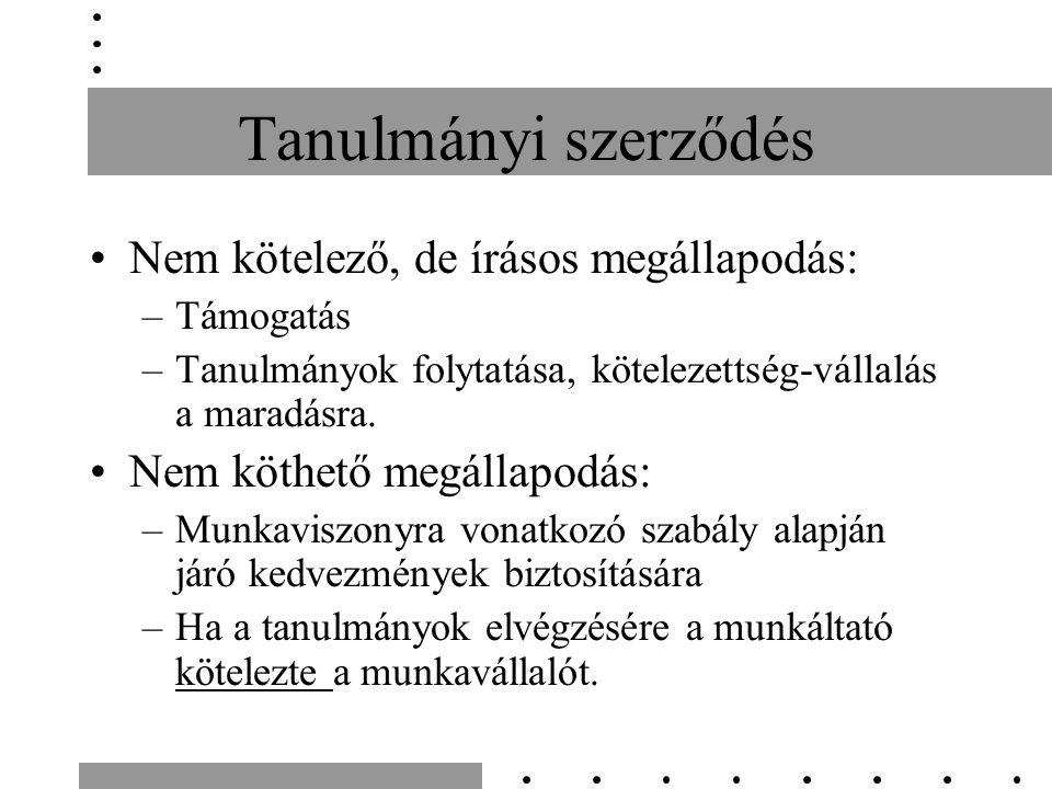 Tanulmányi szerződés Nem kötelező, de írásos megállapodás: –Támogatás –Tanulmányok folytatása, kötelezettség-vállalás a maradásra.