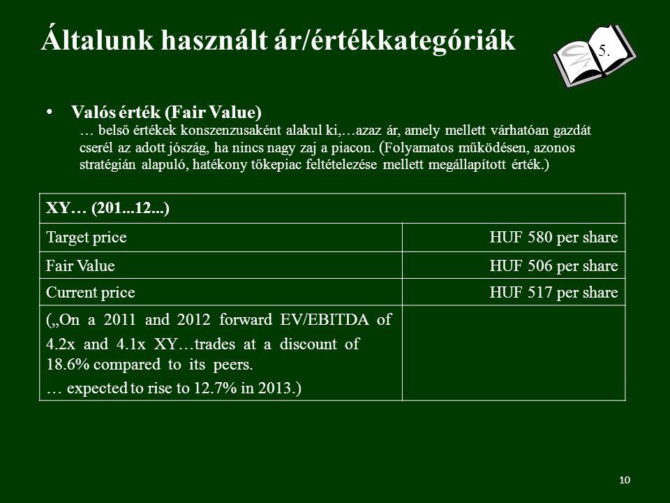 Általunk használt ár/értékkategóriák 10 5.