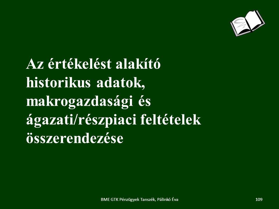 Az értékelést alakító historikus adatok, makrogazdasági és ágazati/részpiaci feltételek összerendezése 109BME GTK Pénzügyek Tanszék, Pálinkó Éva