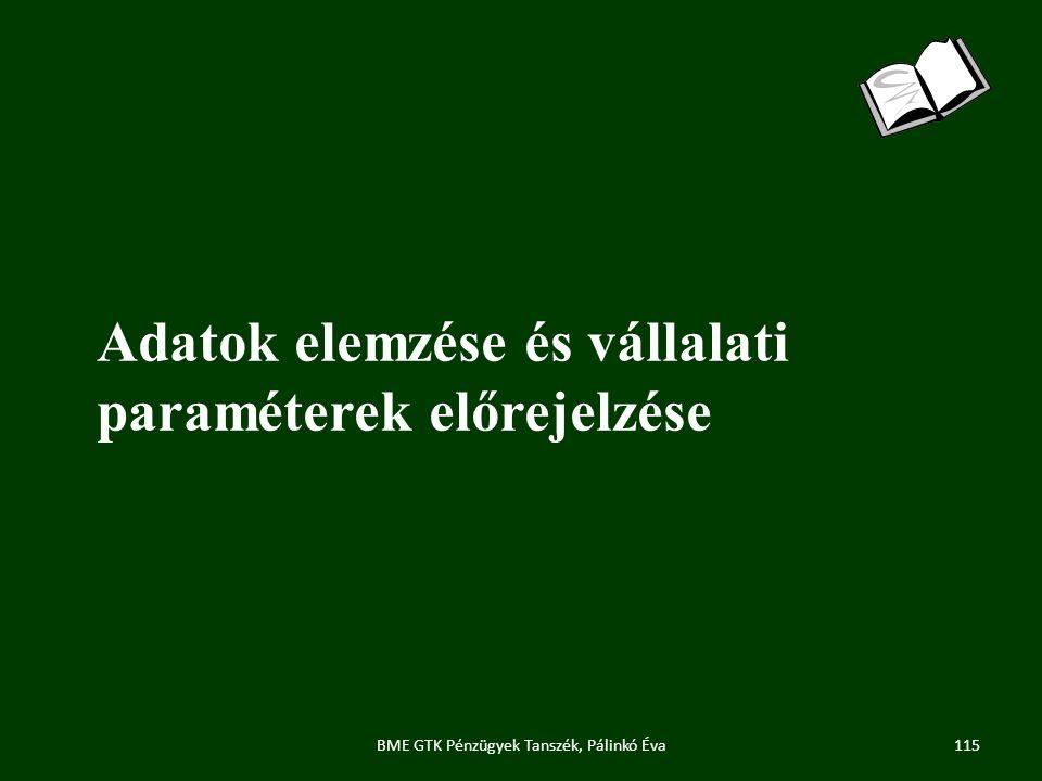 Adatok elemzése és vállalati paraméterek előrejelzése 115BME GTK Pénzügyek Tanszék, Pálinkó Éva