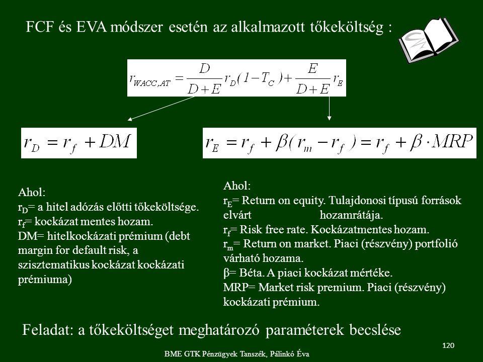 120 BME GTK Pénzügyek Tanszék, Pálinkó Éva FCF és EVA módszer esetén az alkalmazott tőkeköltség : Feladat: a tőkeköltséget meghatározó paraméterek becslése Ahol: r D = a hitel adózás előtti tőkeköltsége.
