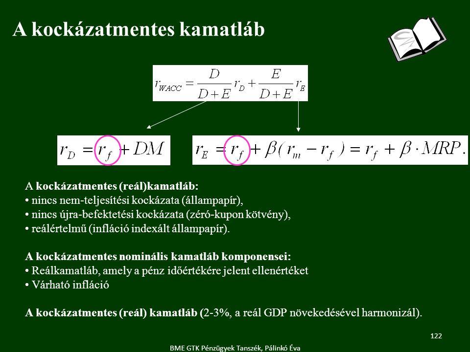 122 BME GTK Pénzügyek Tanszék, Pálinkó Éva A kockázatmentes kamatláb A kockázatmentes (reál)kamatláb: nincs nem-teljesítési kockázata (állampapír), nincs újra-befektetési kockázata (zéró-kupon kötvény), reálértelmű (infláció indexált állampapír).