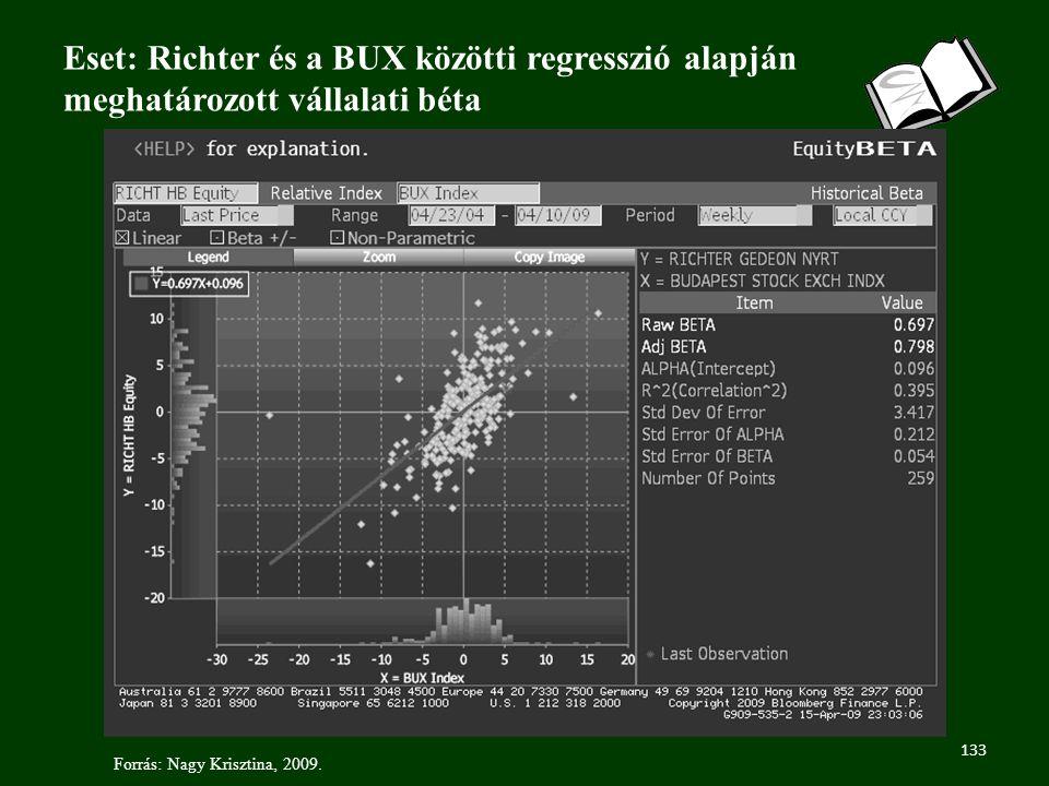 133 Eset: Richter és a BUX közötti regresszió alapján meghatározott vállalati béta Forrás: Nagy Krisztina, 2009.