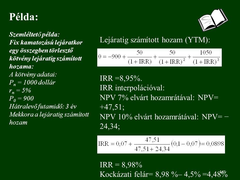 141 Példa: Szemléltető példa: Fix kamatozású lejáratkor egy összegben törlesztő kötvény lejáratig számított hozama: A kötvény adatai: P n = 1000 dollár r n = 5% P 0 = 900 Hátralevő futamidő: 3 év Mekkora a lejáratig számított hozam Lejáratig számított hozam (YTM): IRR =8,95%.