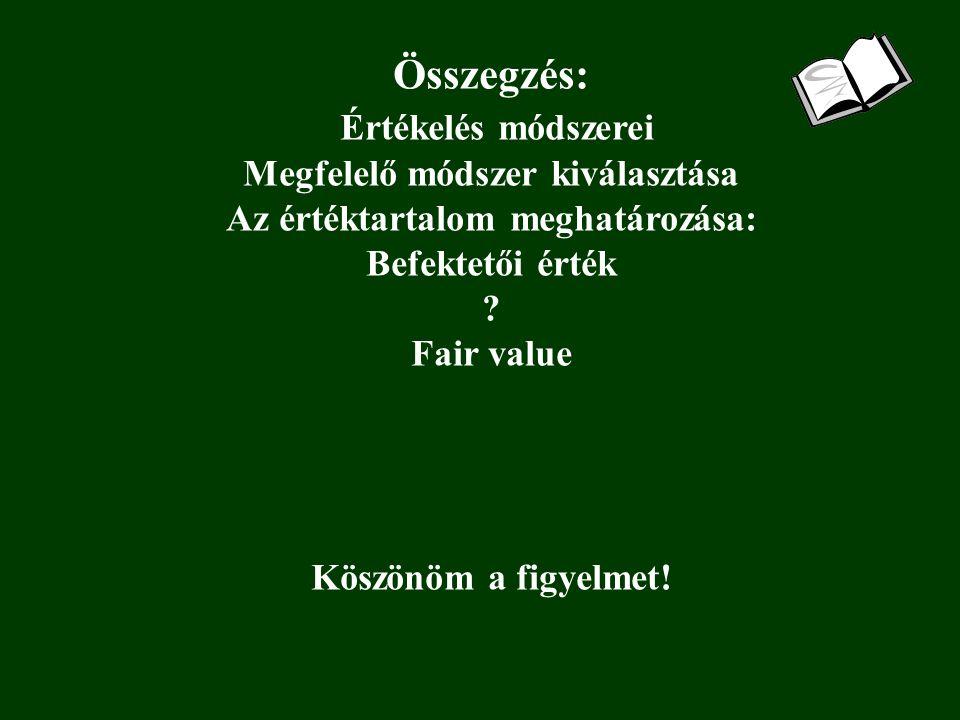 Összegzés: Értékelés módszerei Megfelelő módszer kiválasztása Az értéktartalom meghatározása: Befektetői érték .