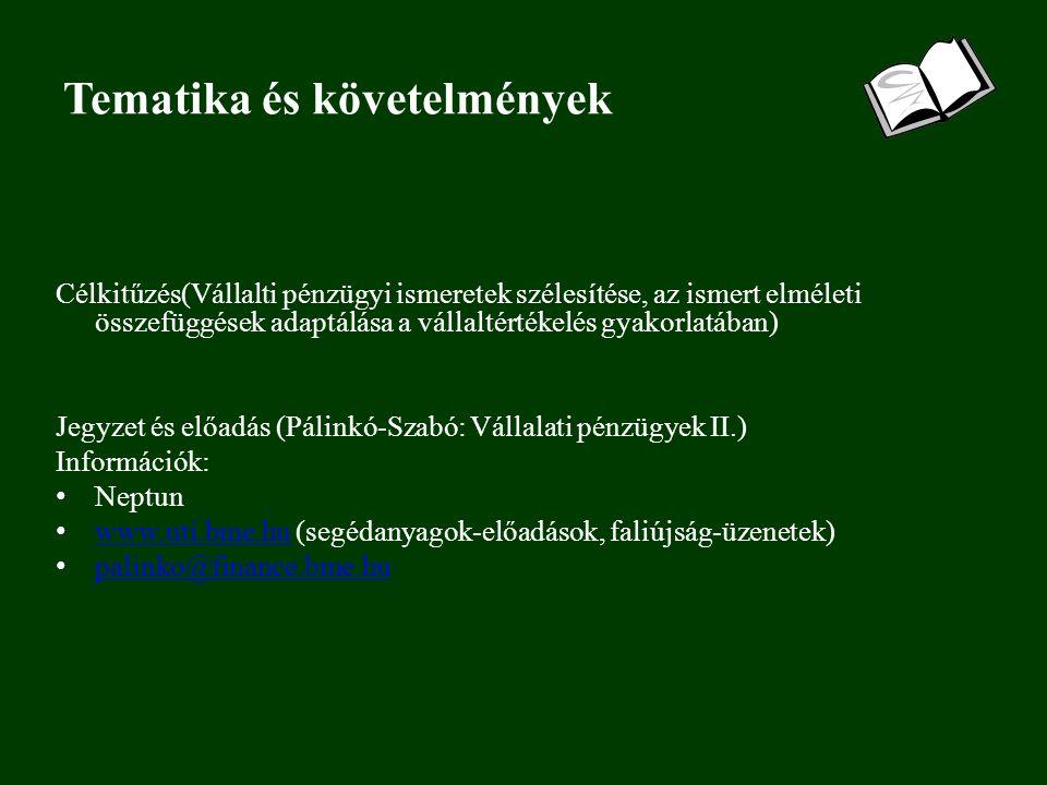 Tematika és követelmények Célkitűzés(Vállalti pénzügyi ismeretek szélesítése, az ismert elméleti összefüggések adaptálása a vállaltértékelés gyakorlatában) Jegyzet és előadás (Pálinkó-Szabó: Vállalati pénzügyek II.) Információk: Neptun www.uti.bme.hu (segédanyagok-előadások, faliújság-üzenetek) www.uti.bme.hu palinko@finance.bme.hu