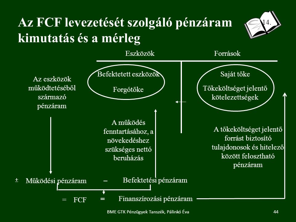 Az FCF levezetését szolgáló pénzáram kimutatás és a mérleg 44 14.