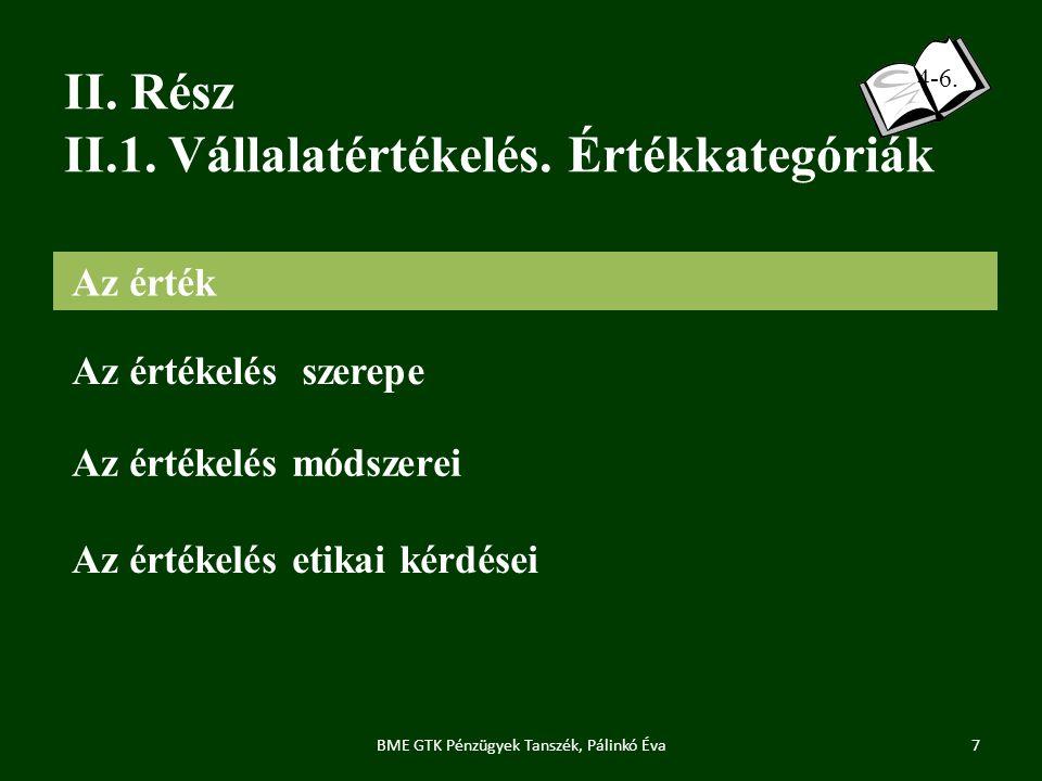 II.Rész II.1. Vállalatértékelés. Értékkategóriák 7BME GTK Pénzügyek Tanszék, Pálinkó Éva 4-6.