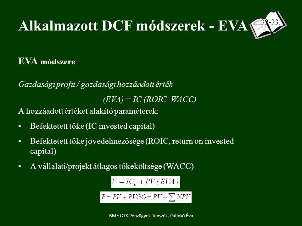 EVA módszere Gazdasági profit / gazdasági hozzáadott érték (EVA) = IC (ROIC–WACC) A hozzáadott értéket alakító paraméterek: Befektetett tőke (IC invested capital) Befektetett tőke jövedelmezősége (ROIC, return on invested capital) A vállalati/projekt átlagos tőkeköltsége (WACC) Alkalmazott DCF módszerek - EVA BME GTK Pénzügyek Tanszék, Pálinkó Éva 32-33.
