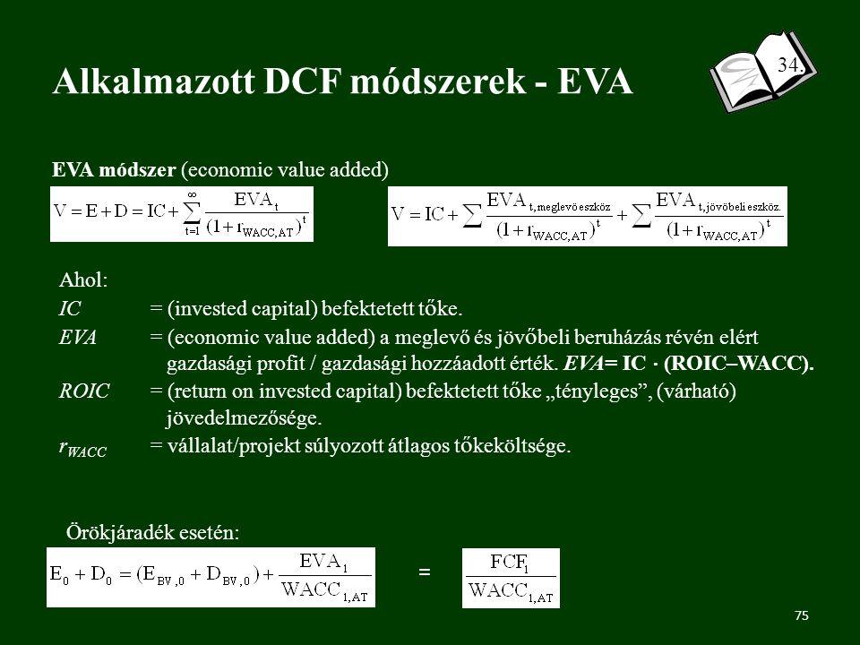 Alkalmazott DCF módszerek - EVA 34.