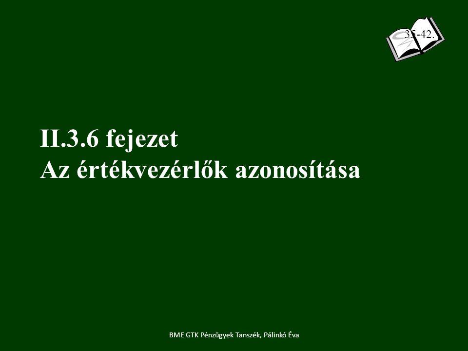 II.3.6 fejezet Az értékvezérlők azonosítása BME GTK Pénzügyek Tanszék, Pálinkó Éva 35-42.