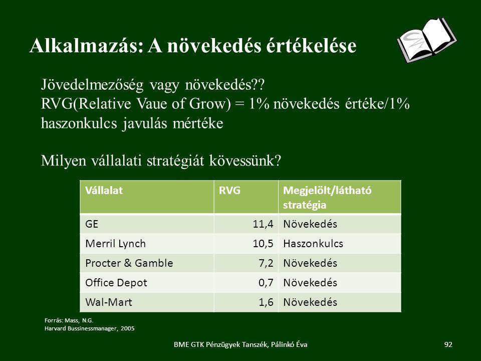 Alkalmazás: A növekedés értékelése BME GTK Pénzügyek Tanszék, Pálinkó Éva92 Forrás: Mass, N.G.