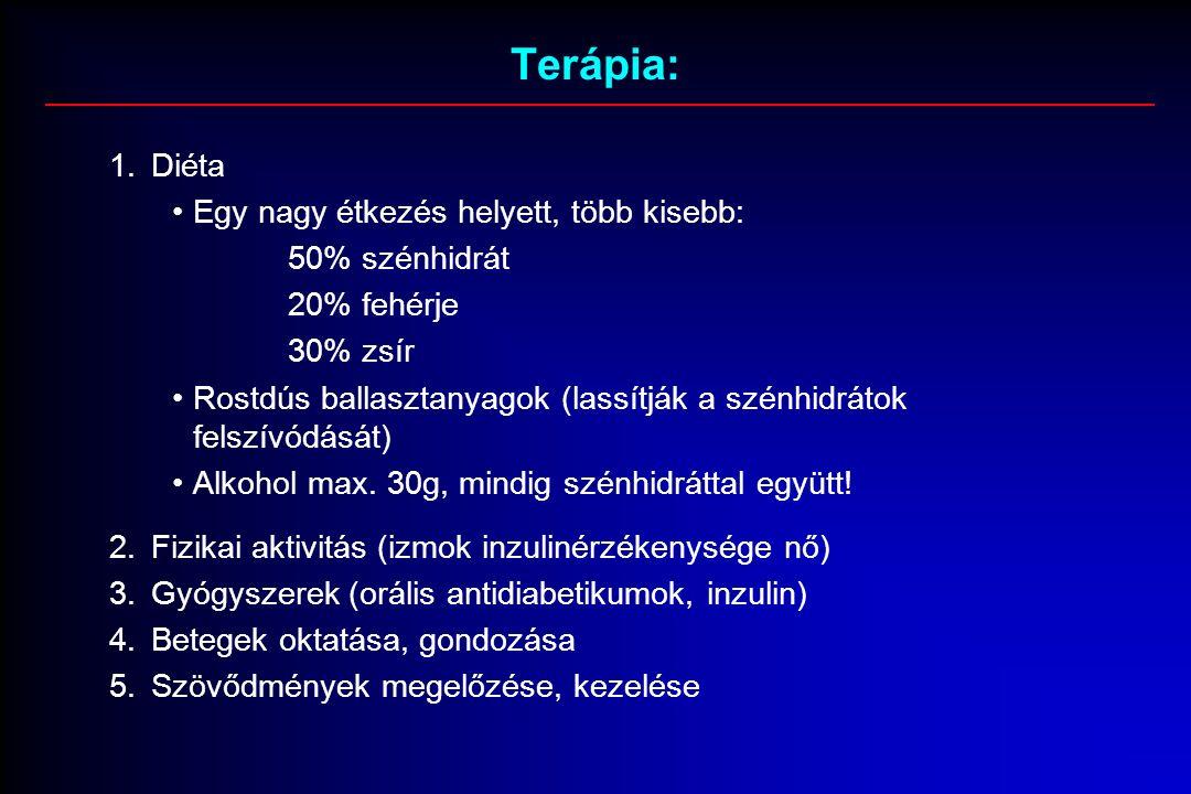 Terápia: 1.Diéta Egy nagy étkezés helyett, több kisebb: 50% szénhidrát 20% fehérje 30% zsír Rostdús ballasztanyagok (lassítják a szénhidrátok felszívódását) Alkohol max.