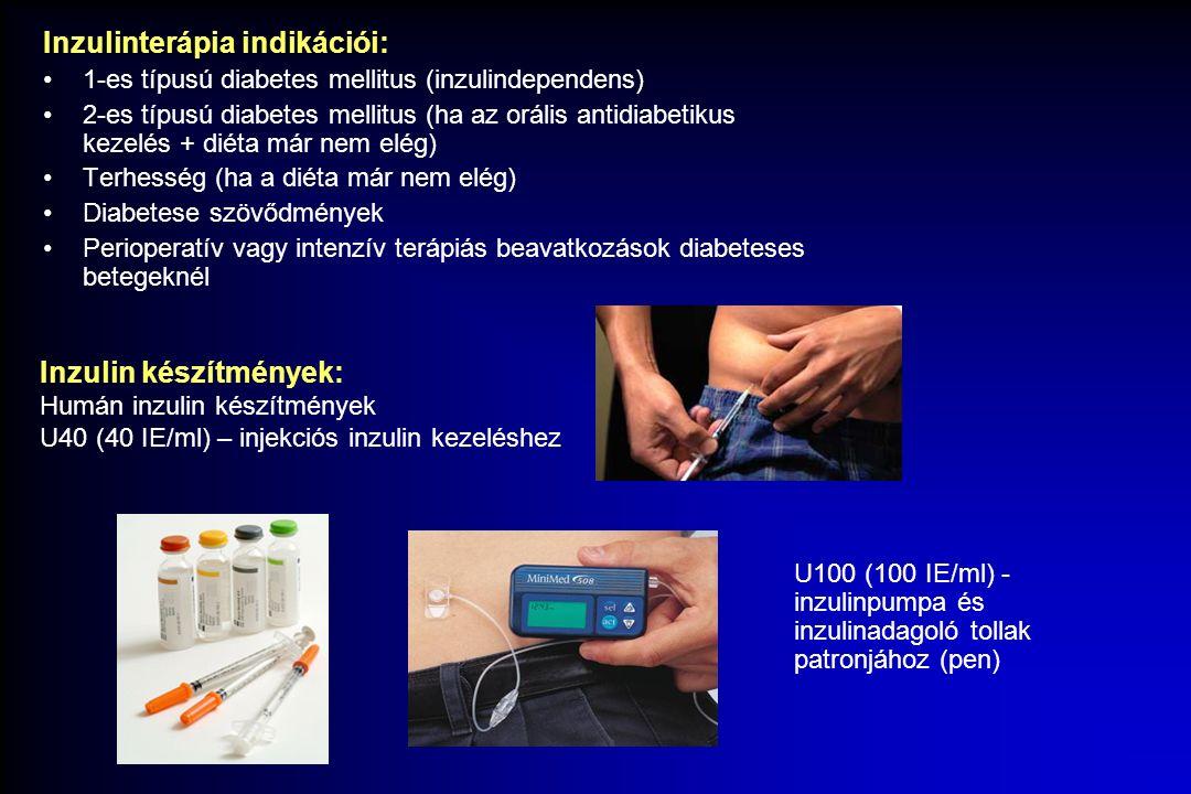 Inzulinterápia indikációi: 1-es típusú diabetes mellitus (inzulindependens) 2-es típusú diabetes mellitus (ha az orális antidiabetikus kezelés + diéta már nem elég) Terhesség (ha a diéta már nem elég) Diabetese szövődmények Perioperatív vagy intenzív terápiás beavatkozások diabeteses betegeknél Inzulin készítmények: Humán inzulin készítmények U40 (40 IE/ml) – injekciós inzulin kezeléshez U100 (100 IE/ml) - inzulinpumpa és inzulinadagoló tollak patronjához (pen)