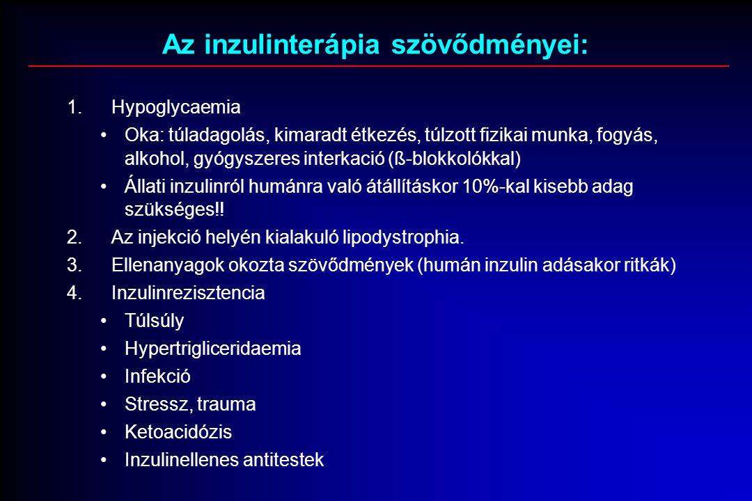 Az inzulinterápia szövődményei: 1.Hypoglycaemia Oka: túladagolás, kimaradt étkezés, túlzott fizikai munka, fogyás, alkohol, gyógyszeres interkació (ß-blokkolókkal) Állati inzulinról humánra való átállításkor 10%-kal kisebb adag szükséges!.