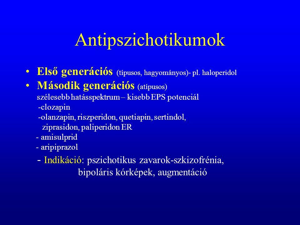 Haloperidol Az antipszichotikumok összehasonlító receptor profilja D1 D2 D4 5HT2A 5HT2C Musc  1  2 H1 ClozapinRisperidon Sertindol Quetiapin Ziprasidon Olanzapin mellékhatások