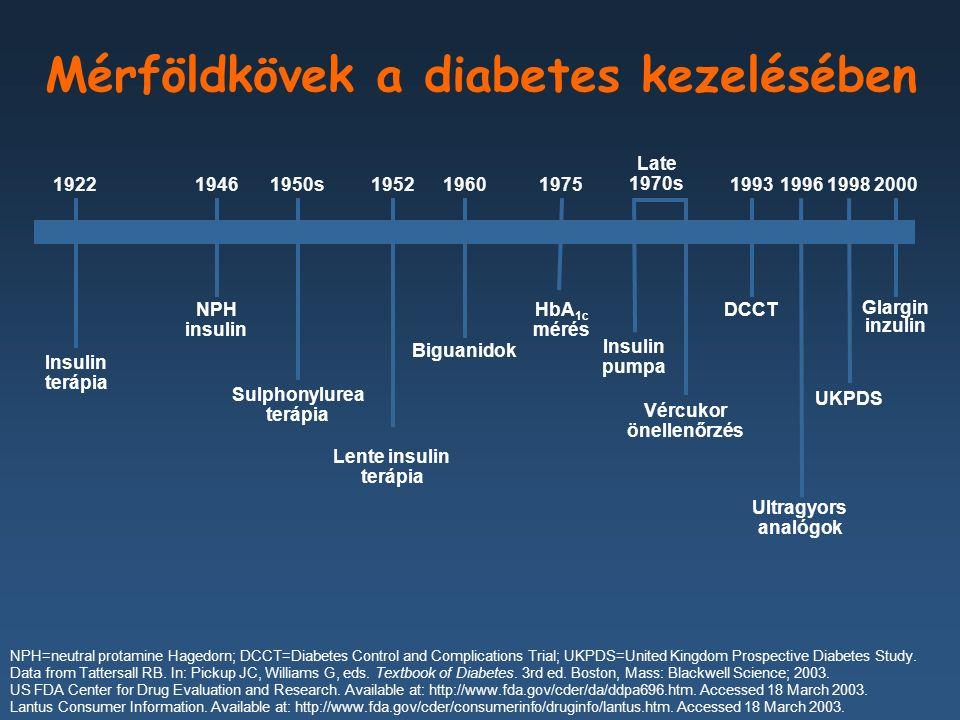 Glargin inzulin 2000 Mérföldkövek a diabetes kezelésében Biguanidok 1960 Insulin terápia 1922 Sulphonylurea terápia 1950s Insulin pumpa Late 1970s NPH