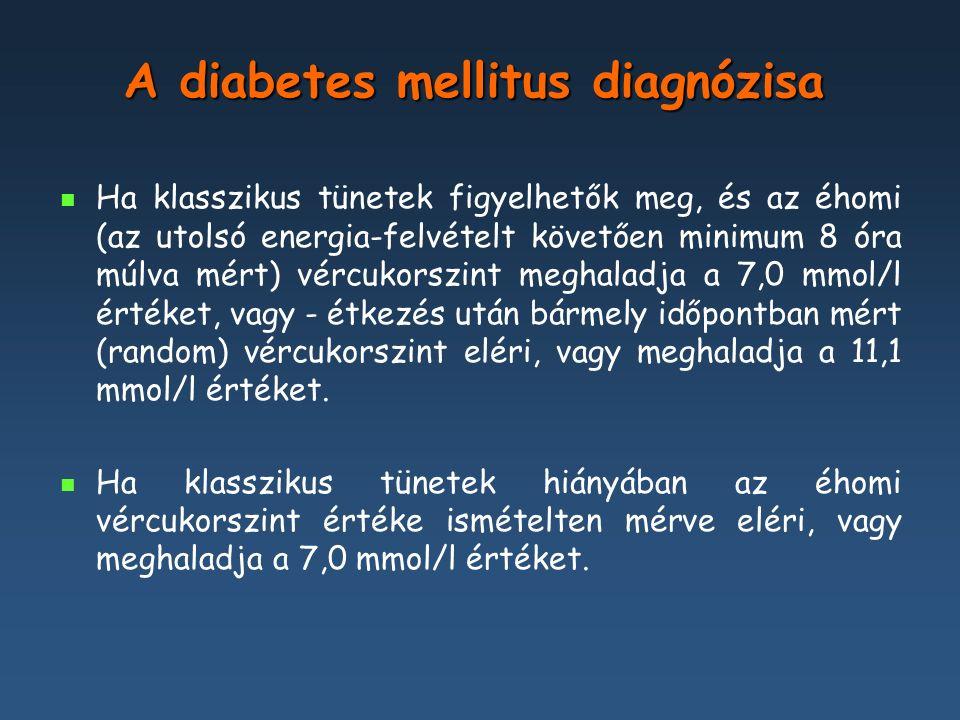 A glukóz-intolerancia stádiumai A szénhidrát-anyagcsere állapota Glukózkoncentráció, mmol/l (vénás plazma, laboratóriumi mérés) Normális glukóztolerancia: Éhomi vércukorszint OGTT 2 órás érték <=6,0 < 7,8 Emelkedett éhomi vércukor (IFG) Éhomi vércukorszint OGTT 2 órás érték >=6,1 de =6,1 de < 7,0 (azaz: 6,1- 6,9) < 7,8 Csökkent glukóztolerancia (IGT) Éhomi vércukorszint OGTT 2 órás érték < 7,0 >=7,8 de =7,8 de < 11,1 (azaz: 7,8- 11,0) Diabetes mellitus Éhomi vércukorszint OGTT 2 órás érték >=7,0>=11,1