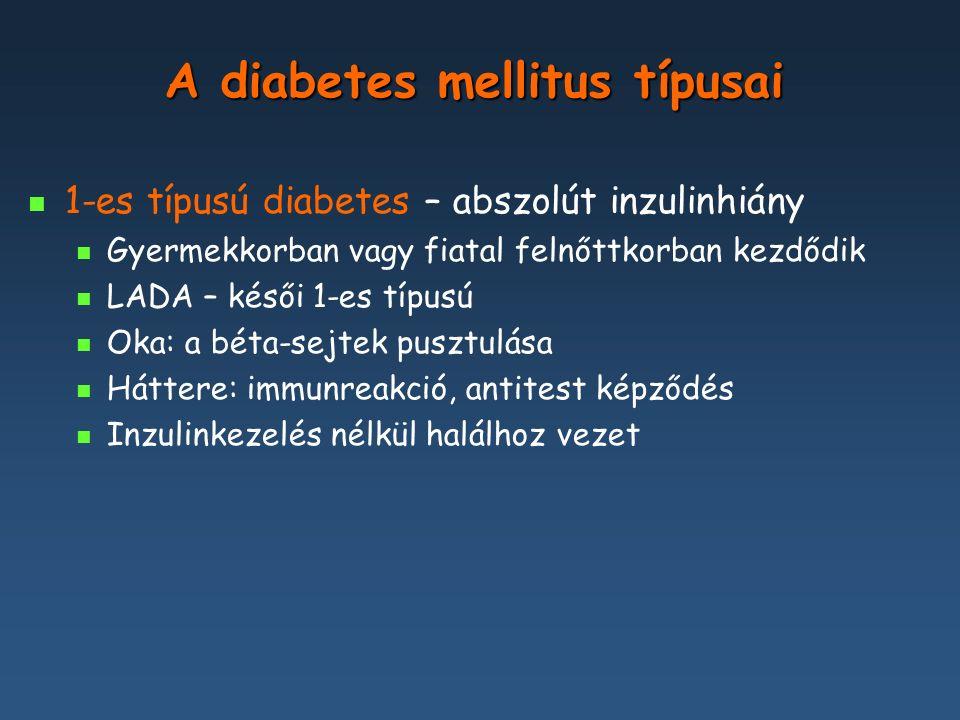 A diabetes mellitus típusai 1-es típusú diabetes – abszolút inzulinhiány 2-es típusú diabetes - a diabetes leggyakoribb formája, amelyet az inzulinelválasztás és az inzulinhatás károsodása jellemez