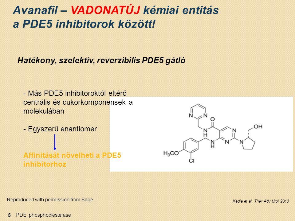 PDE, phosphodiesterase Avanafil - Kiemelkedő szelektivitási profil PDE1PDE6PDE11 Target szervSzív Agy Érfali sima- izomzat RetinaVázizom- zat Prosztata Máj Vese Hipofízis Here PDE5-hez viszonyított szelektivitás (aktivitás aránya) 1 Jelentett off-target mellékhatások Avanafil >10,192 121 >19,231 Cyanopsia, 1 eset a klinikai vizsgálat során 2 Sildenafil375164875Cyanopsia (0.8% - 50 mg, 1.4% - 100 mg vs 0.03% - placebo 3,4 ) Vardenafil1012215952Cyanopsia (nem gyakori) 5 Tadalafil10,50055025Hátfájás, myalgia (2–3%) 6 1.Wang et al.