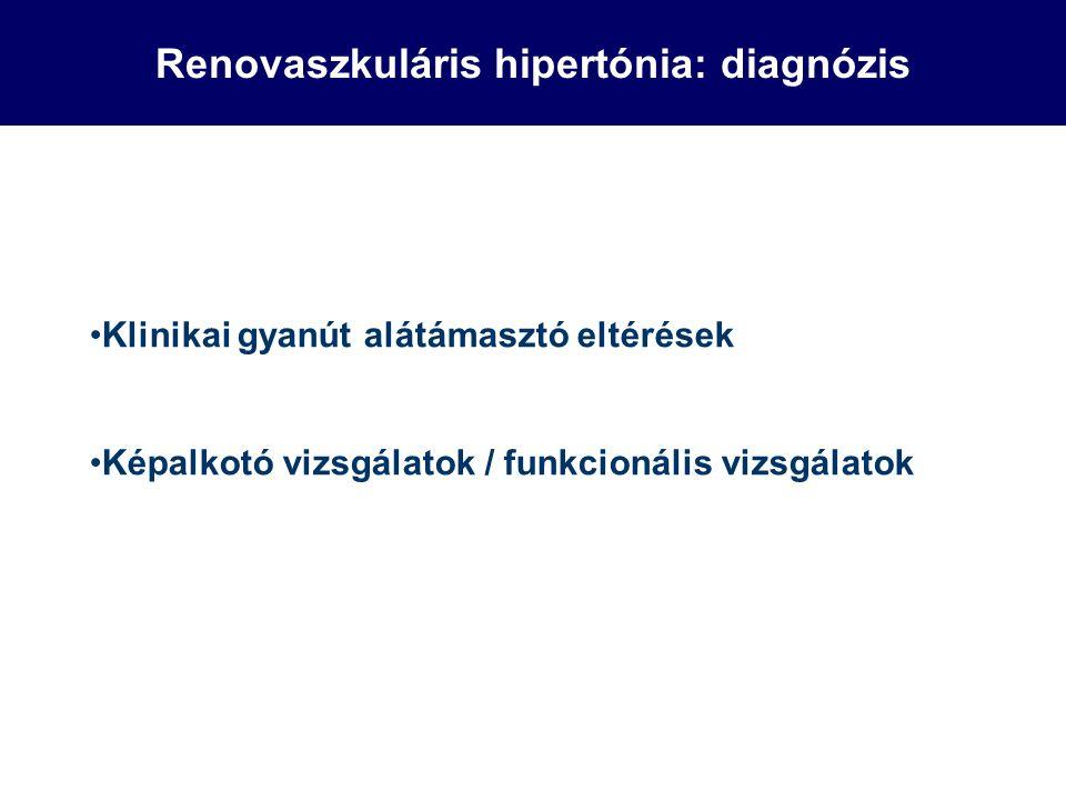 Renovaszkuláris hipertónia: diagnózis Klinikai gyanút alátámasztó eltérések Képalkotó vizsgálatok / funkcionális vizsgálatok