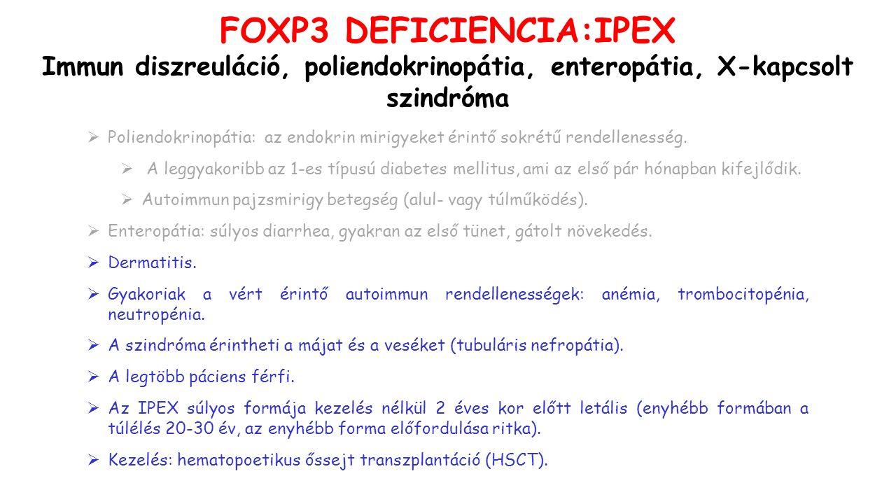FOXP3 DEFICIENCIA:IPEX Immun diszreuláció, poliendokrinopátia, enteropátia, X-kapcsolt szindróma  Poliendokrinopátia: az endokrin mirigyeket érintő sokrétű rendellenesség.