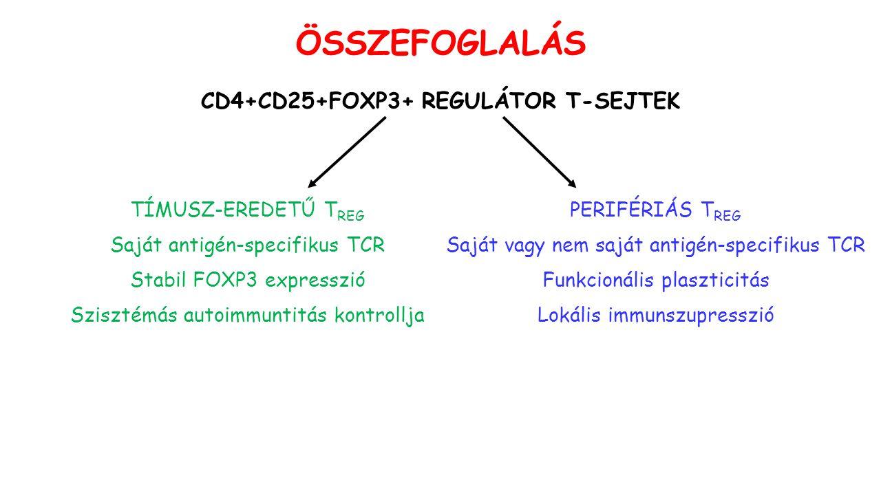 ÖSSZEFOGLALÁS CD4+CD25+FOXP3+ REGULÁTOR T-SEJTEK TÍMUSZ-EREDETŰ T REG Saját antigén-specifikus TCR Stabil FOXP3 expresszió Szisztémás autoimmuntitás kontrollja PERIFÉRIÁS T REG Saját vagy nem saját antigén-specifikus TCR Funkcionális plaszticitás Lokális immunszupresszió