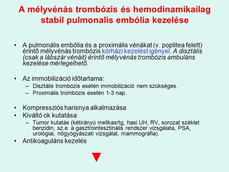 A mélyvénás trombózis és hemodinamikailag stabil pulmonalis embólia kezelése A pulmonális embólia és a proximális vénákat (v.