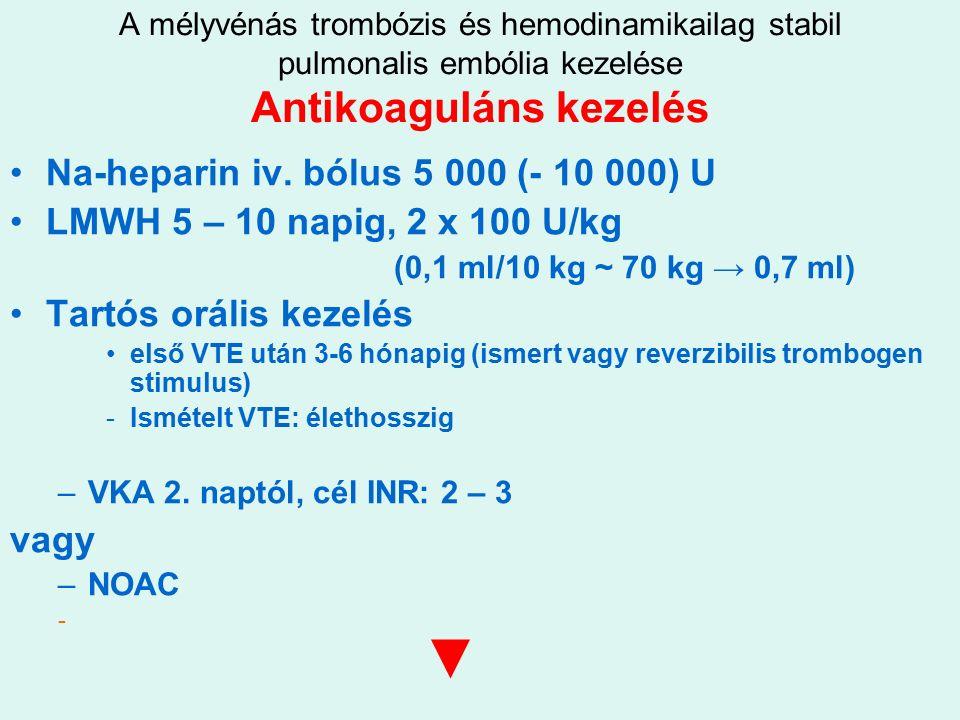 A mélyvénás trombózis és hemodinamikailag stabil pulmonalis embólia kezelése Antikoaguláns kezelés Na-heparin iv.