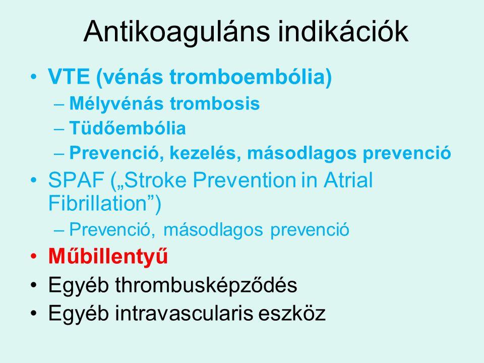 """Antikoaguláns indikációk VTE (vénás tromboembólia) –Mélyvénás trombosis –Tüdőembólia –Prevenció, kezelés, másodlagos prevenció SPAF (""""Stroke Prevention in Atrial Fibrillation ) –Prevenció, másodlagos prevenció Műbillentyű Egyéb thrombusképződés Egyéb intravascularis eszköz"""
