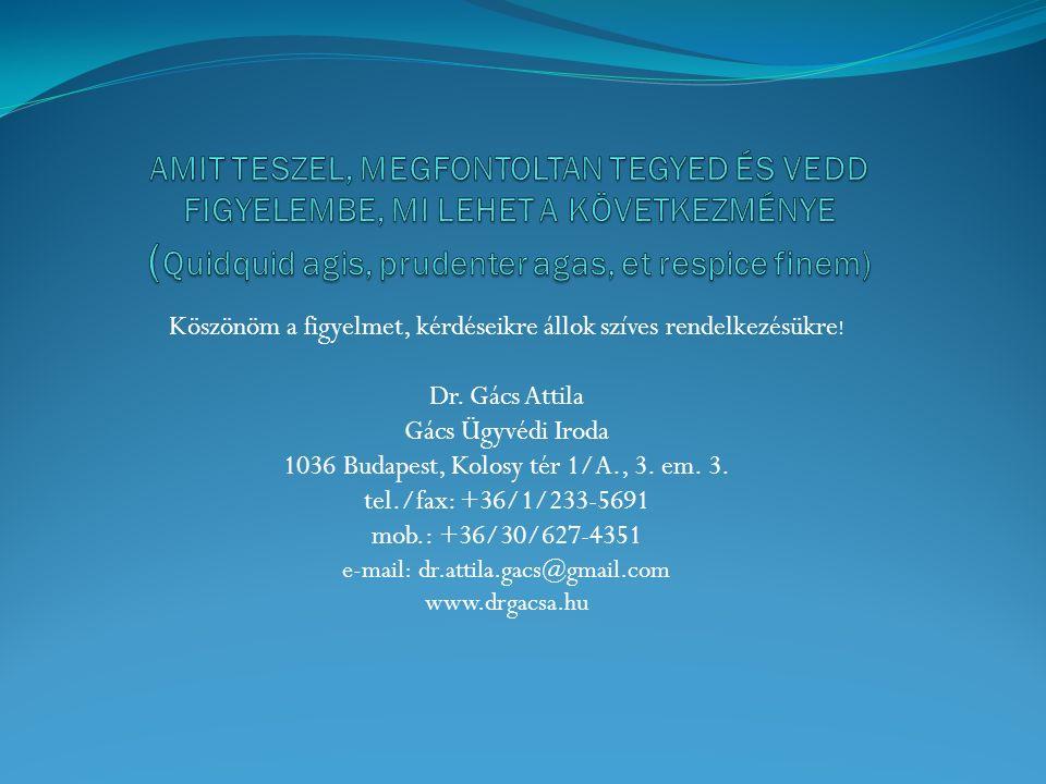 Köszönöm a figyelmet, kérdéseikre állok szíves rendelkezésükre ! Dr. Gács Attila Gács Ügyvédi Iroda 1036 Budapest, Kolosy tér 1/A., 3. em. 3. tel./fax