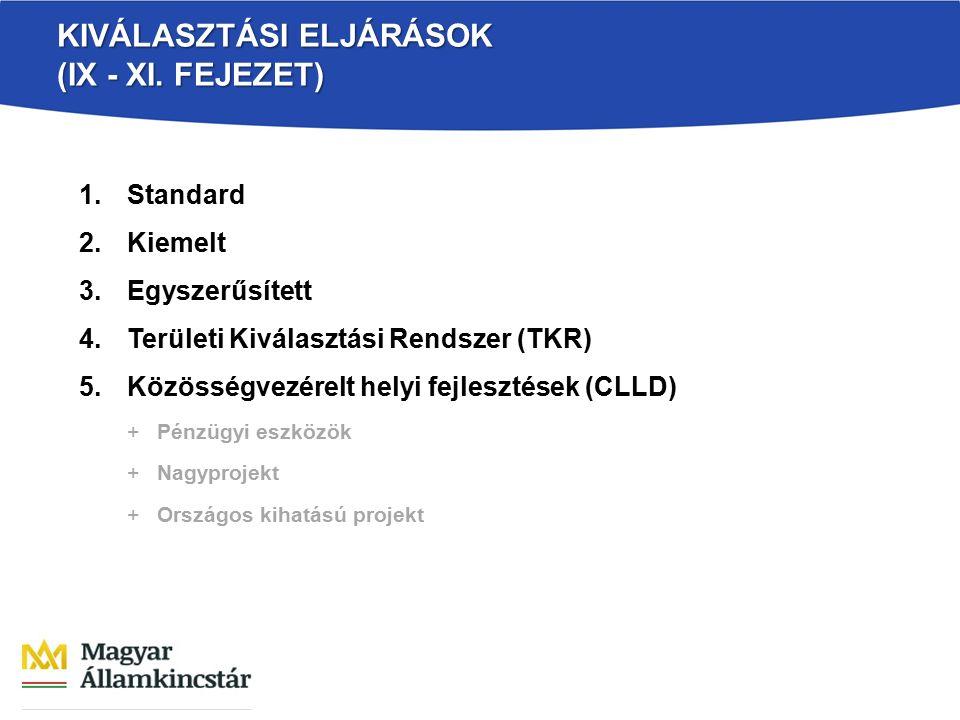 KIVÁLASZTÁSI ELJÁRÁSOK (IX - XI. FEJEZET) 1.Standard 2.Kiemelt 3.Egyszerűsített 4.Területi Kiválasztási Rendszer (TKR) 5.Közösségvezérelt helyi fejles