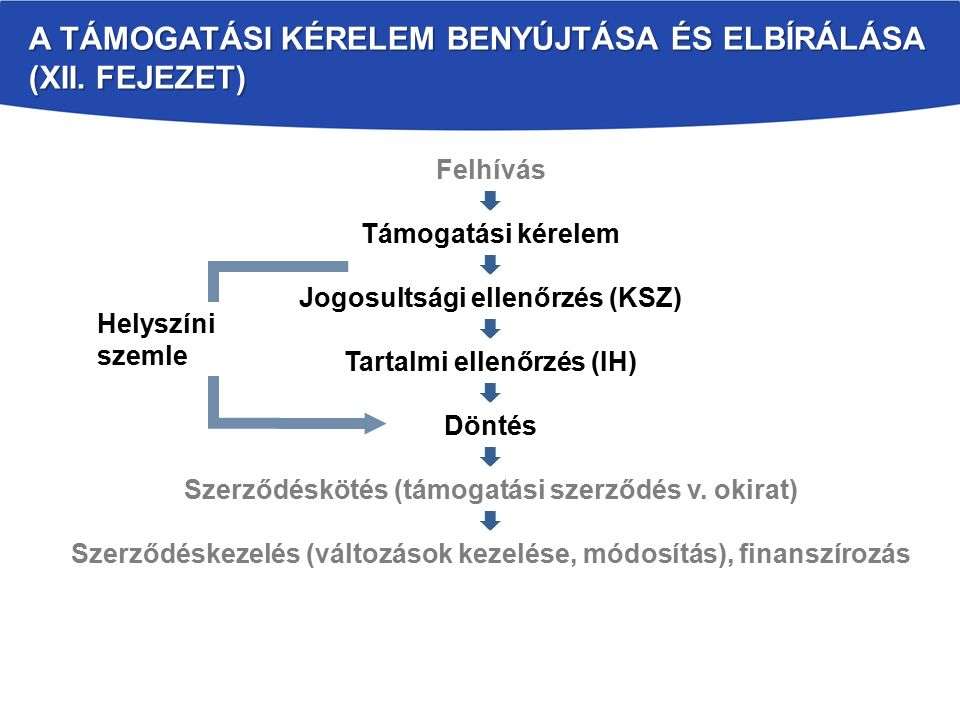 A TÁMOGATÁSI KÉRELEM BENYÚJTÁSA ÉS ELBÍRÁLÁSA (XII. FEJEZET) Felhívás  Támogatási kérelem  Jogosultsági ellenőrzés (KSZ)  Tartalmi ellenőrzés (IH)