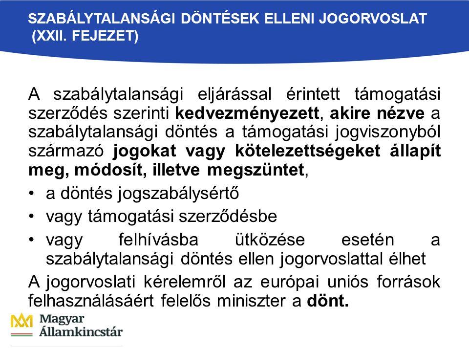 SZABÁLYTALANSÁGI DÖNTÉSEK ELLENI JOGORVOSLAT (XXII.