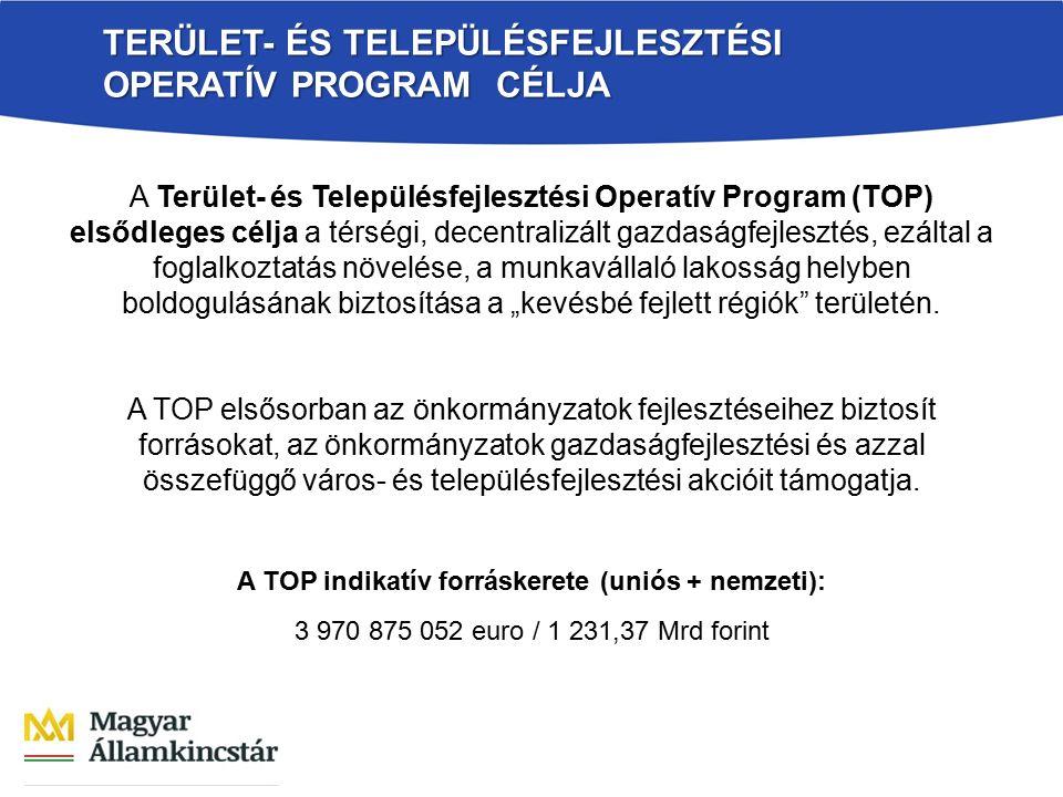 TERÜLET- ÉS TELEPÜLÉSFEJLESZTÉSI OPERATÍV PROGRAM CÉLJA A Terület- és Településfejlesztési Operatív Program (TOP) elsődleges célja a térségi, decentra