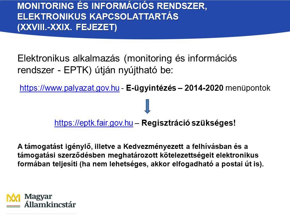 MONITORING ÉS INFORMÁCIÓS RENDSZER, ELEKTRONIKUS KAPCSOLATTARTÁS (XXVIII.-XXIX. FEJEZET) Elektronikus alkalmazás (monitoring és információs rendszer -