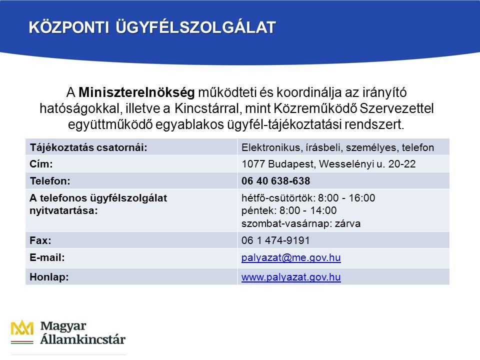 KÖZPONTI ÜGYFÉLSZOLGÁLAT Tájékoztatás csatornái:Elektronikus, írásbeli, személyes, telefon Cím:1077 Budapest, Wesselényi u. 20-22 Telefon:06 40 638-63