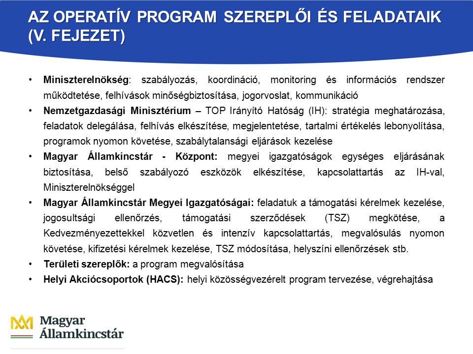 AZ OPERATÍV PROGRAM SZEREPLŐI ÉS FELADATAIK (V. FEJEZET) Miniszterelnökség: szabályozás, koordináció, monitoring és információs rendszer működtetése,