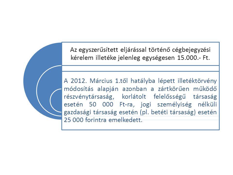 Az egyszerűsített eljárással történő cégbejegyzési kérelem illetéke jelenleg egységesen 15.000.- Ft.