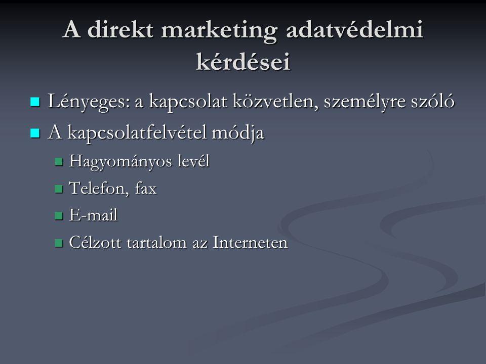 A direkt marketing adatvédelmi kérdései Lényeges: a kapcsolat közvetlen, személyre szóló Lényeges: a kapcsolat közvetlen, személyre szóló A kapcsolatfelvétel módja A kapcsolatfelvétel módja Hagyományos levél Hagyományos levél Telefon, fax Telefon, fax E-mail E-mail Célzott tartalom az Interneten Célzott tartalom az Interneten