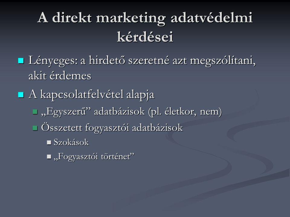 A direkt marketing adatvédelmi kérdései A megkereső A megkereső Milyen adatokat használ a kapcsolatfelvételhez.