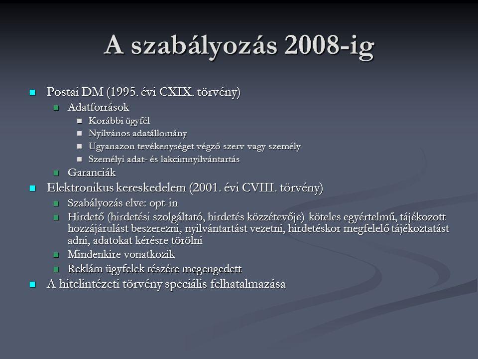 A szabályozás 2008-ig Postai DM (1995. évi CXIX. törvény) Postai DM (1995.