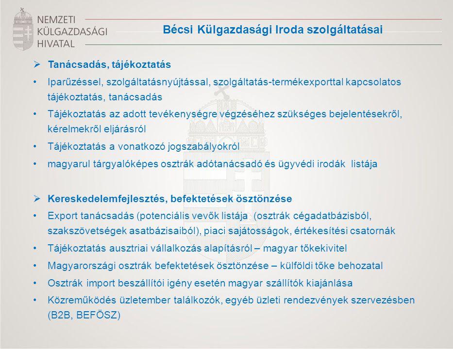  Tanácsadás, tájékoztatás Iparűzéssel, szolgáltatásnyújtással, szolgáltatás-termékexporttal kapcsolatos tájékoztatás, tanácsadás Tájékoztatás az adott tevékenységre végzéséhez szükséges bejelentésekről, kérelmekről eljárásról Tájékoztatás a vonatkozó jogszabályokról magyarul tárgyalóképes osztrák adótanácsadó és ügyvédi irodák listája  Kereskedelemfejlesztés, befektetések ösztönzése Export tanácsadás (potenciális vevők listája (osztrák cégadatbázisból, szakszövetségek asatbázisaiból), piaci sajátosságok, értékesítési csatornák Tájékoztatás ausztriai vállalkozás alapításról – magyar tőkekivitel Magyarországi osztrák befektetések ösztönzése – külföldi tőke behozatal Osztrák import beszállítói igény esetén magyar szállítók kiajánlása Közreműködés üzletember találkozók, egyéb üzleti rendezvények szervezésben (B2B, BEFÖSZ) Bécsi Külgazdasági Iroda szolgáltatásai