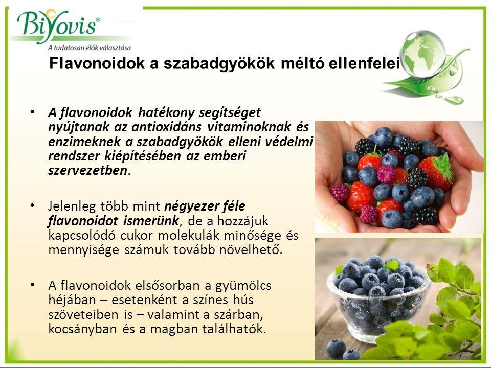 Flavonoidok a szabadgyökök méltó ellenfelei A flavonoidok hatékony segítséget nyújtanak az antioxidáns vitaminoknak és enzimeknek a szabadgyökök elleni védelmi rendszer kiépítésében az emberi szervezetben.