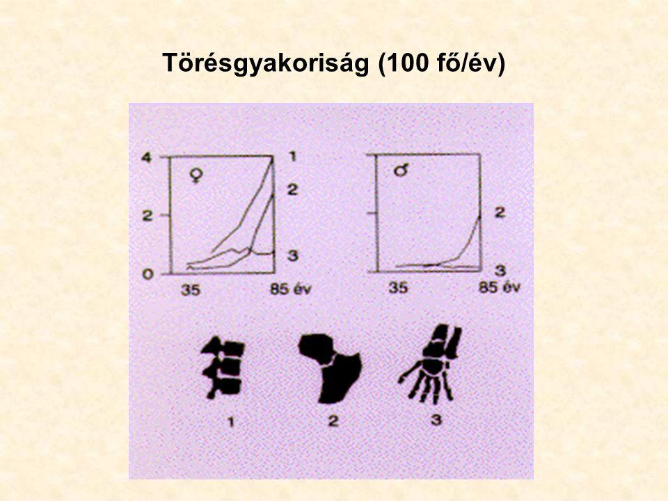 Törésgyakoriság (100 fő/év)