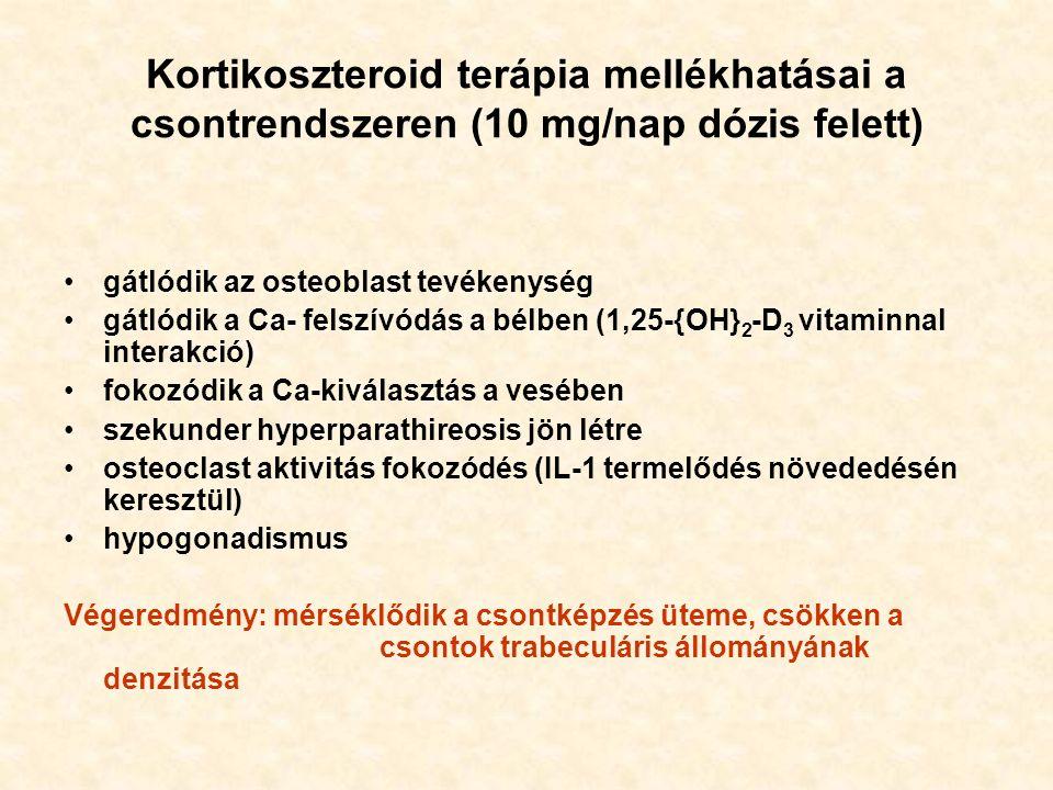 Kortikoszteroid terápia mellékhatásai a csontrendszeren (10 mg/nap dózis felett) gátlódik az osteoblast tevékenység gátlódik a Ca- felszívódás a bélben (1,25-{OH} 2 -D 3 vitaminnal interakció) fokozódik a Ca-kiválasztás a vesében szekunder hyperparathireosis jön létre osteoclast aktivitás fokozódés (IL-1 termelődés növededésén keresztül) hypogonadismus Végeredmény: mérséklődik a csontképzés üteme, csökken a csontok trabeculáris állományának denzitása