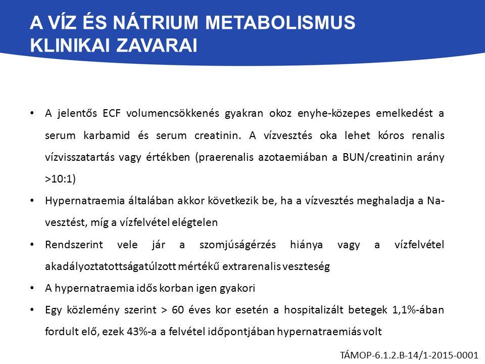 A VÍZ ÉS NÁTRIUM METABOLISMUS KLINIKAI ZAVARAI A jelentős ECF volumencsökkenés gyakran okoz enyhe-közepes emelkedést a serum karbamid és serum creatinin.